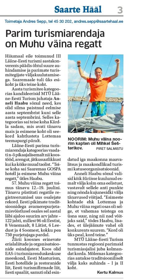 Parim turismiarendaja on Muhu Väina regatt_Saarte Hääl 26112014