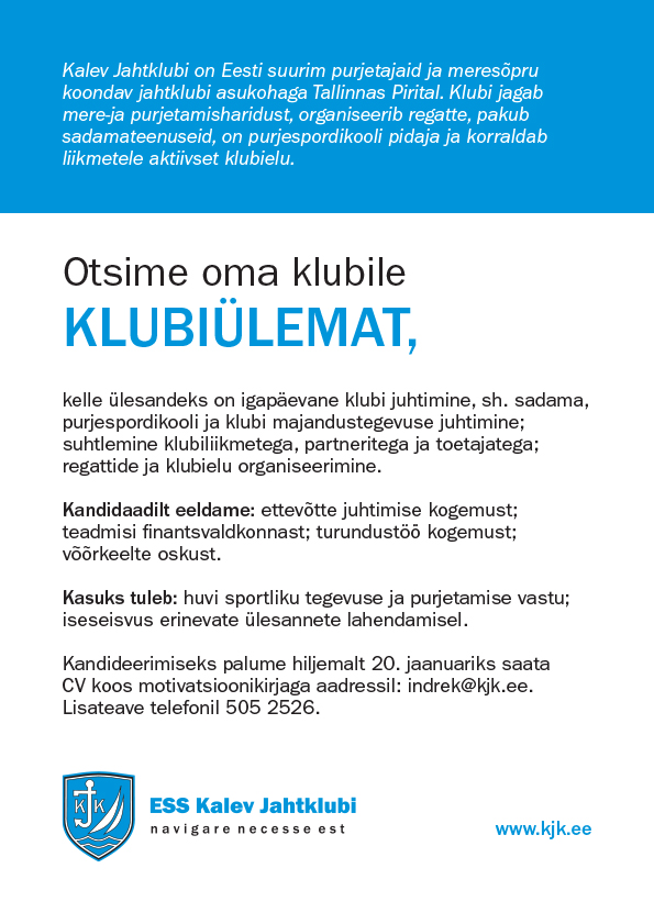 Kalev-Jahtklubi-töökuulutus-KLUBIÜLEM