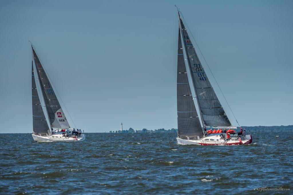 Forte (KJK) ja Olympicu (Dago) startimas OlyBet Pärnu-Riia etapile, mis selgitas regati võitja. Foto - Pavel Nesvadba
